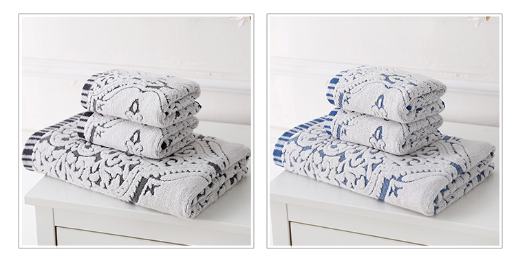 Wholesale  white jacquard hotel guest 100 % Indian cotton bath towel set