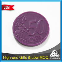 China Supplier custom colors 50 cent embossed plastic trolley coin