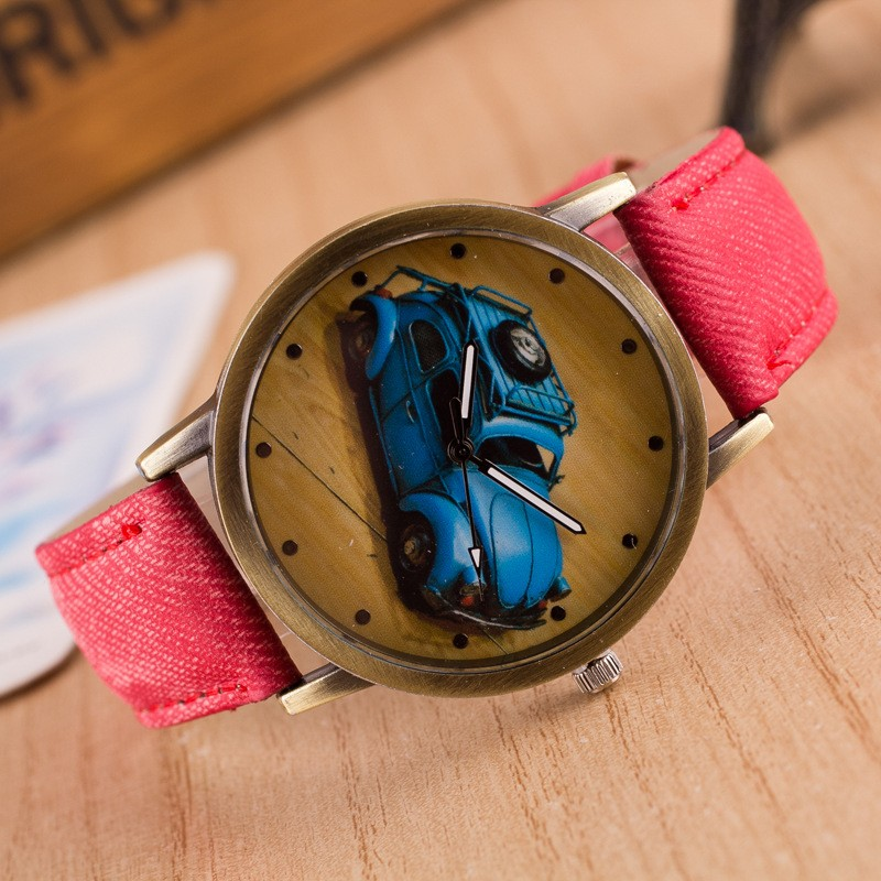 Cheap price fashionable design kids frosted jean leather strap car custom printed quartz watch models WWM07