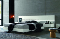 New Design Modern Luxury Bedroom Furniture White Glossy Large Headboard Queen Size Bed