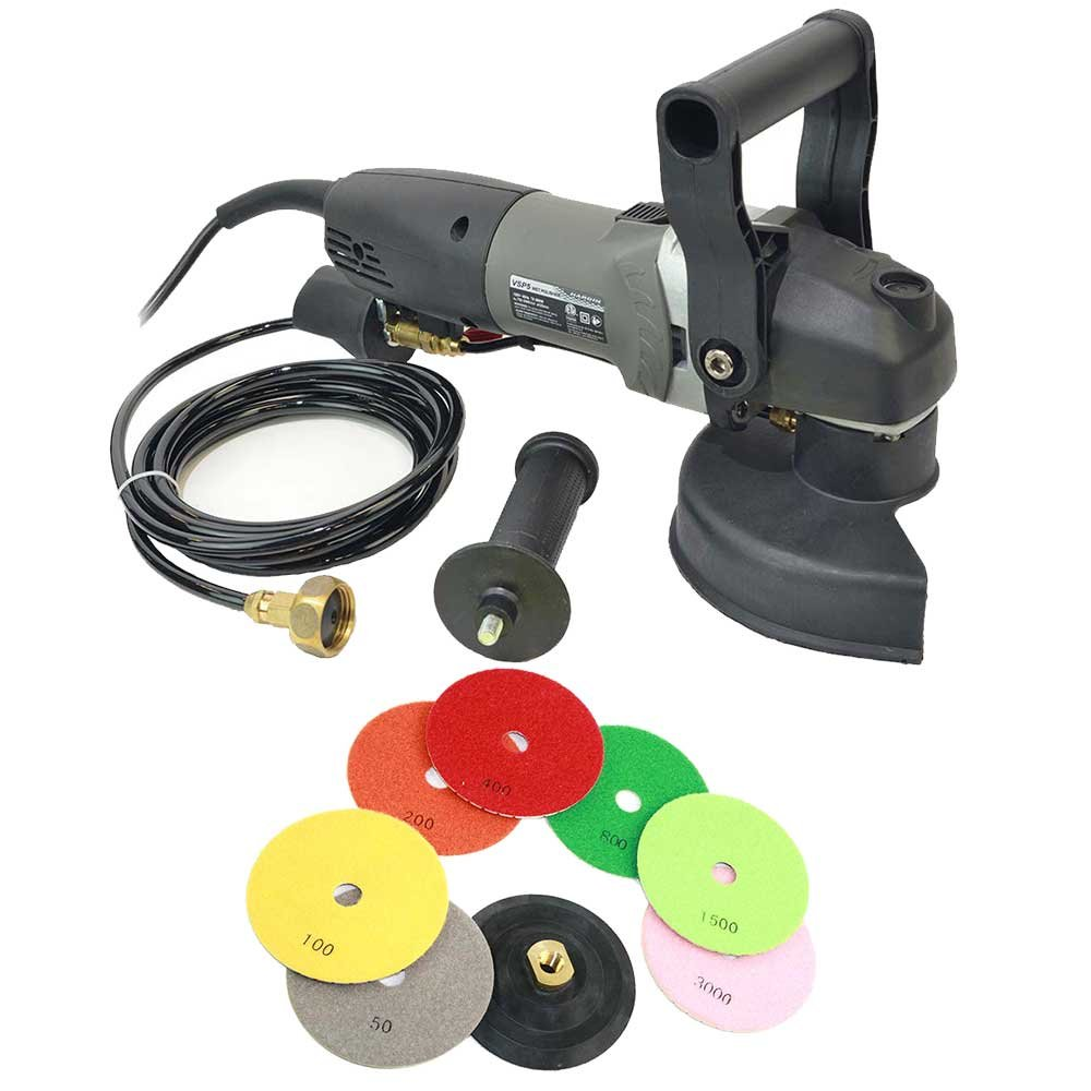 "Hardin BRTVSP4KIT VSP5 5"" Var Speed Polisher, 4"" Backer Pad & 7 Piece 4"" 3 mm Wet Prem Diam Pol Pad Set"