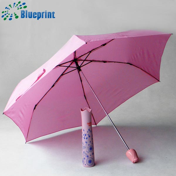 Cheap 3 folding customer logo print advertising wine bottle umbrella