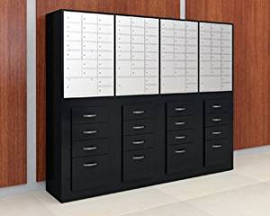 Charnstrom Laminated Wood Cabinet with Pull-Out Storage, with Mailboxes (3286)