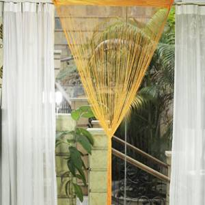 Fringe Tassel Window Door Divider Curtain Hanging String, Door Curtain, Window Curtain, Room Divider or a Background for a Shop Window Display (Deep Yellow)