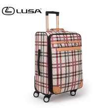 Fashion PU leather trolley bag luggage