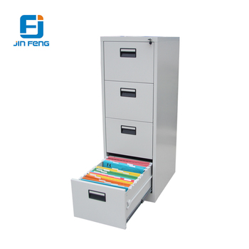 4 Drawer Lateral File Cupboard Anti-tilt Wood Grain Transfer Printing Steel Vertical Drawer Cabinet