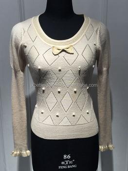 Bgax003 Round Neck Long Sleeve Beading Pullover Wool Handmade ...