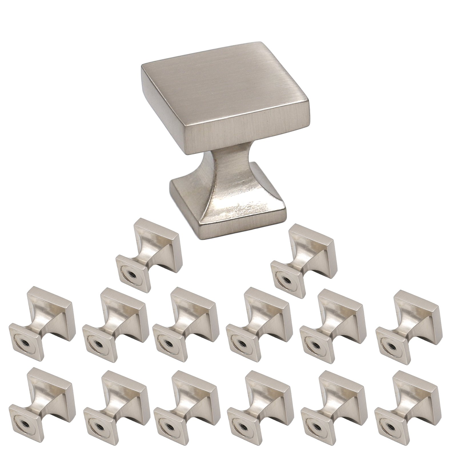 Brushed Nickel Cabinets Knobs 15 Pack-Homdiy HD148 WxW:4/5in Square Brushed Satin Nickel SOILD Cabinets Knobs Hardware Knobs Pulls