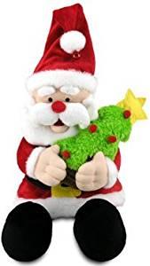 "Cuddle Barn Animated Kris Jingle Santa Plush Toy Singing ""Deck the Hall"" CB2333"