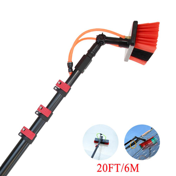 Telescopic cleaning window washing brush with wiper long adjustable handle
