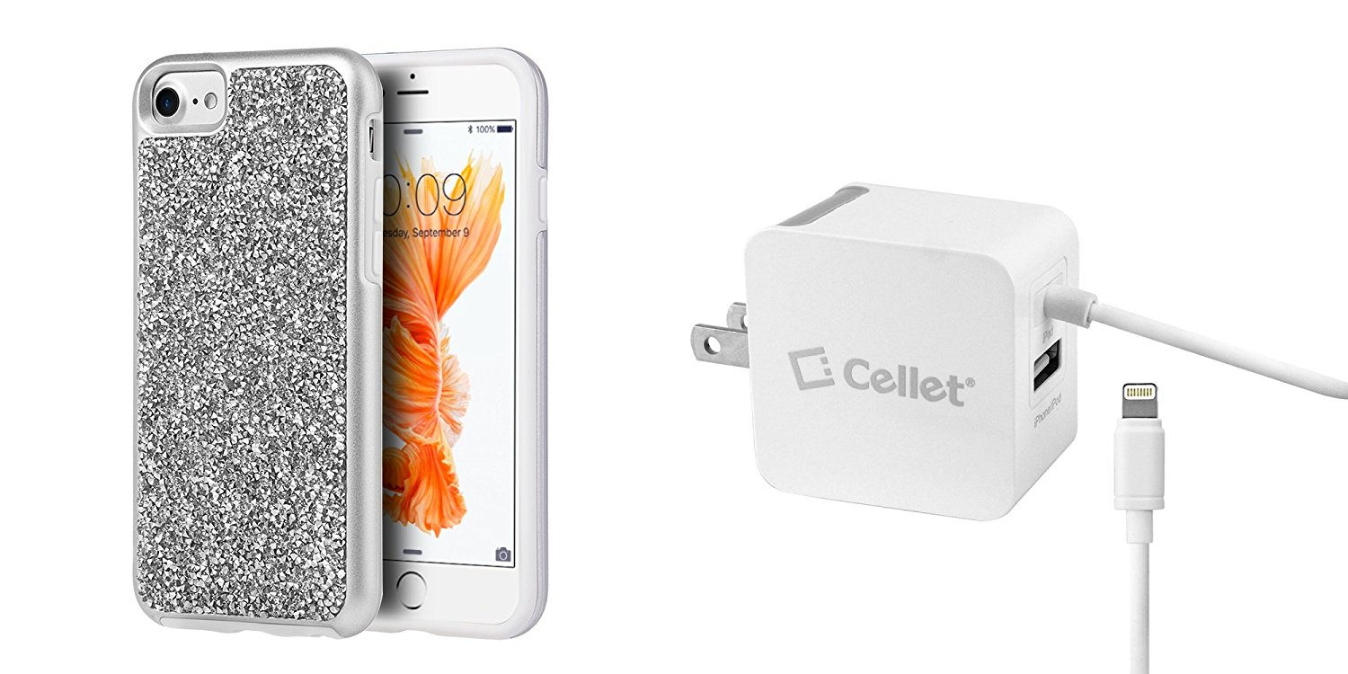 Apple iPhone 7 (4.7-Inch Display) - Accessory Bundle with Diamond Rhinestone Bumper Case - [Silver], Cellet [Apple MFI Certified] 3.1A / 15W Lightning Wall Charger with USB Port and Atom LED
