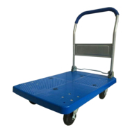 180kg Blue Plastic Folding Hand Cart with TPR Wheels