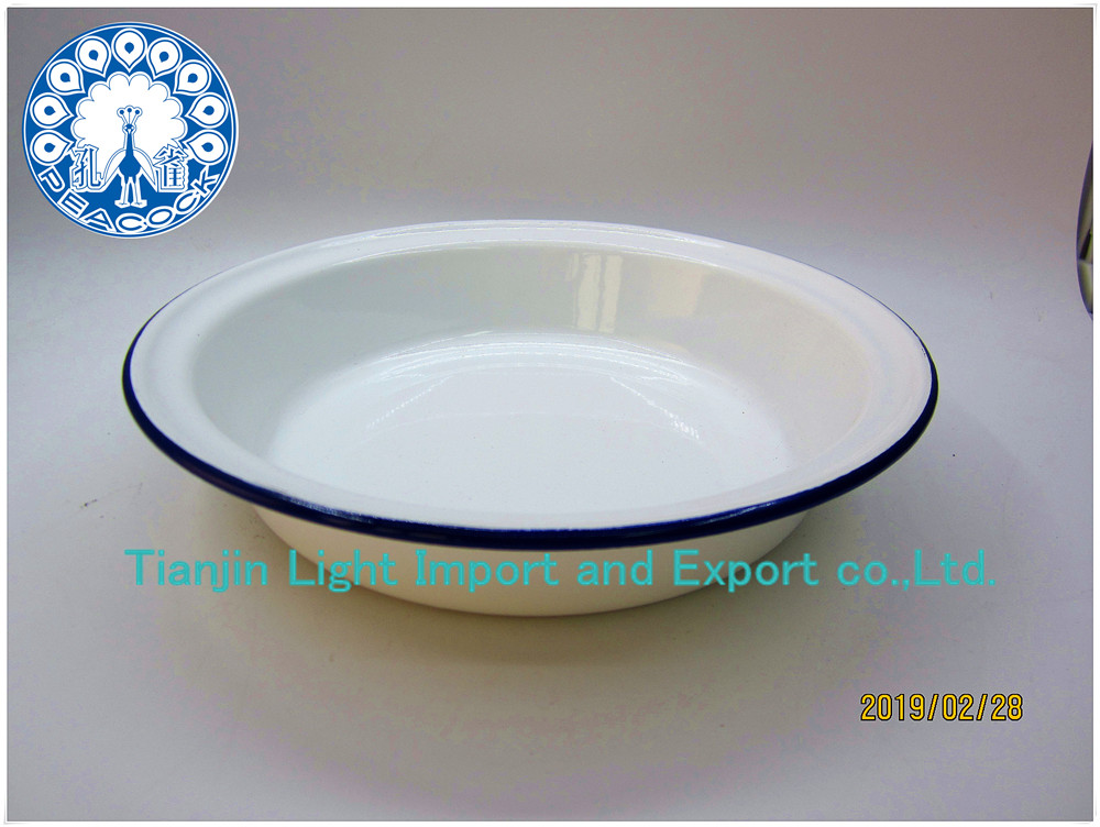 18-20-22cm Wedding restaurant dish 7inch 8inch 9inch custom logo color enamel deep dinner plates with deep blue rimmed