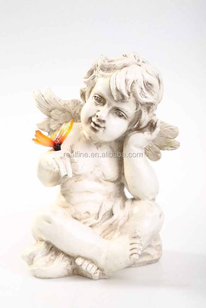 Polyresin Custom Design Resin Sleeping Angel Statues, Resin Wing Figure for Decoration