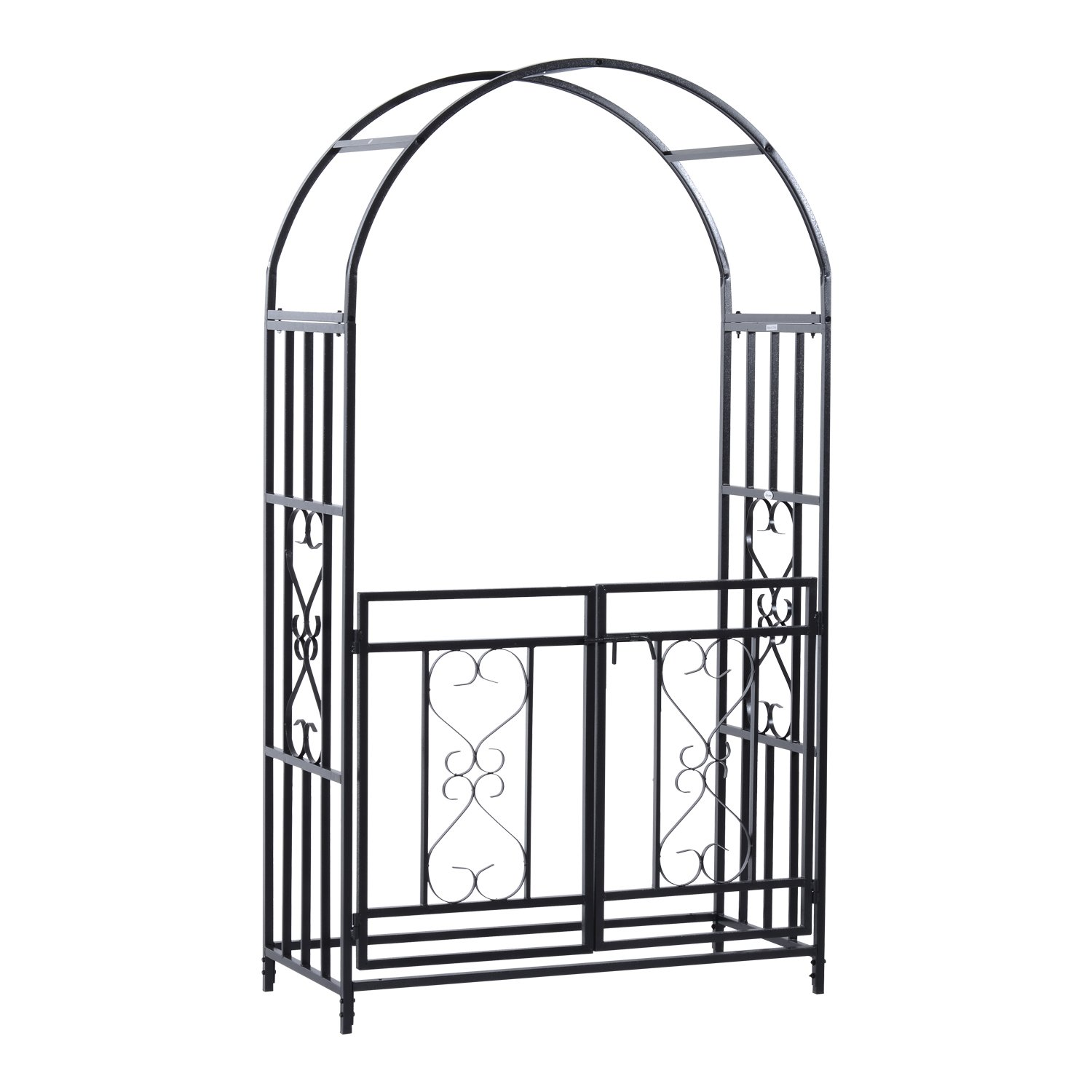 Outsunny Decorative Metal Backyard Garden Arch (Gated)