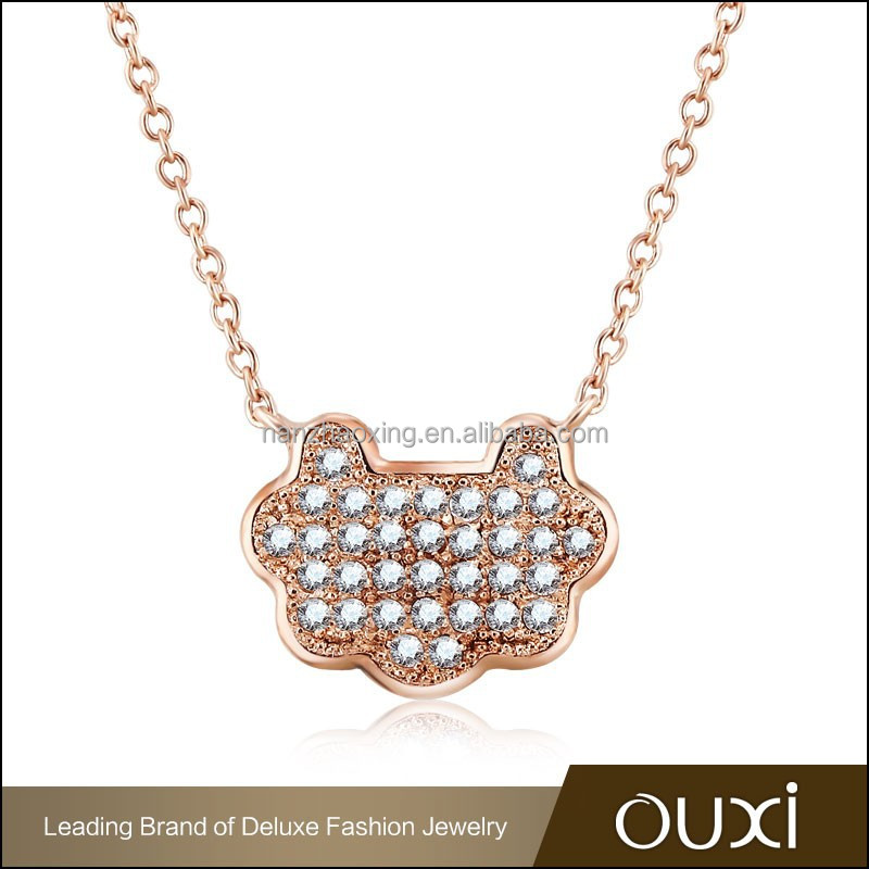 OUXI Alibaba on sale teenage fashion jewelry rose gold AAA micro pave cz cat shape diamond cz long chain necklace pendant