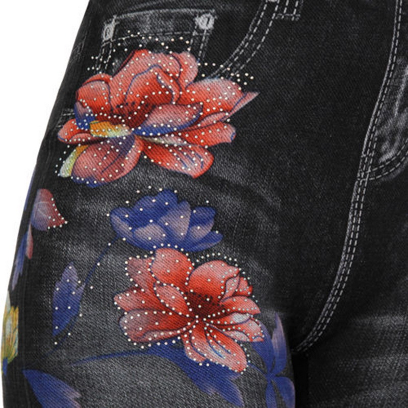 2019Womens Floral Denim Jeans Leggings Fashion Rose Print Pencil Pants Plus Size Casual High Waist Leggings