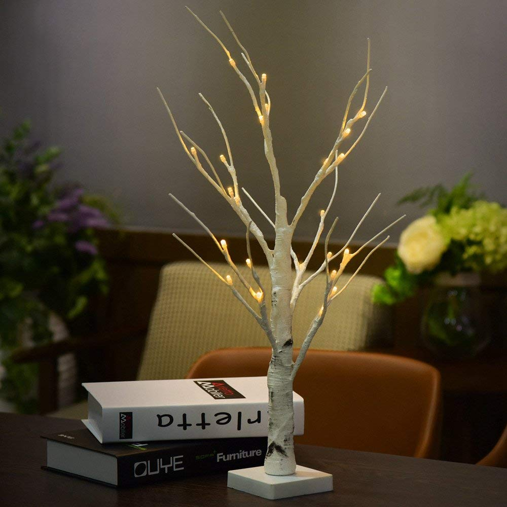 Gbell Warm White LED Light Tree with Adjustable DIY Branches,0.6M/1.2M Fashion Desk Top Waterproof Silver Birch Twig Tree Light for Christmas,Home, Bedroom, Living Room, Balcony,Parties Decor