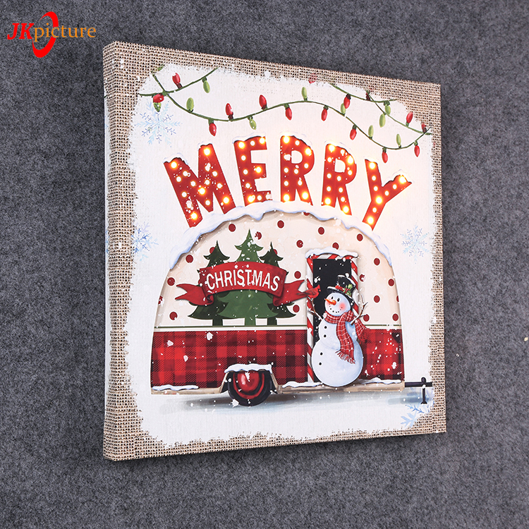Merry Christmas Wall Decor Cute Snowman Picture LED Canvas Painting Lighted Box