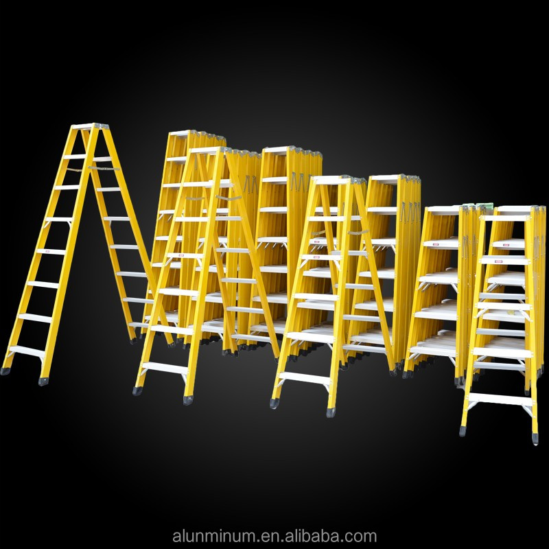 Multi-task yellow color insulation 8 steps extension fiberglass folding step ladder