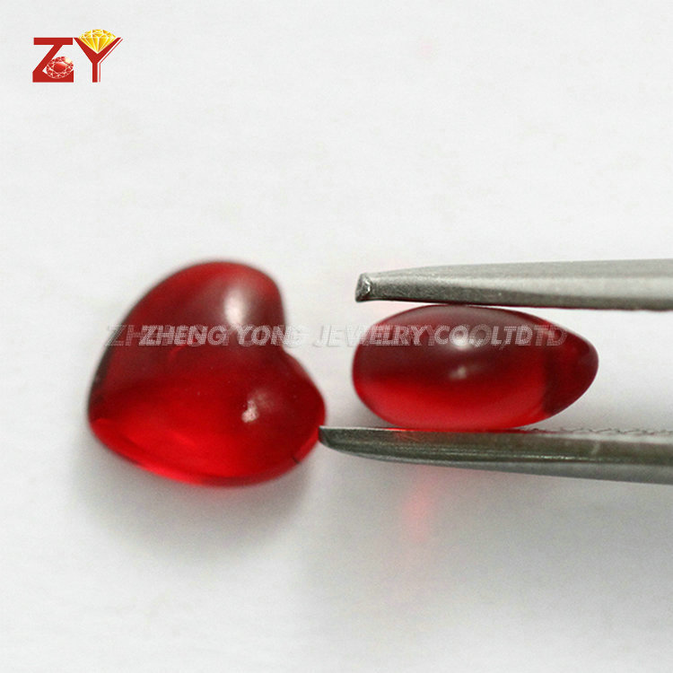 Heart Shape Glass Double Cabochon Cut Red Synthetic Gems