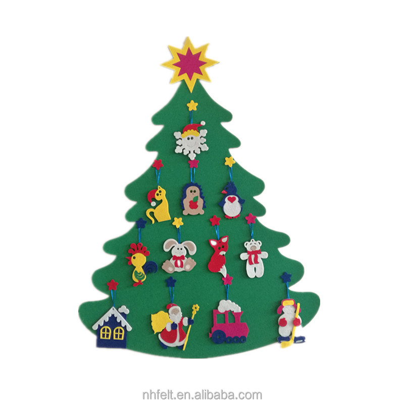 2017 hot sale Wall hanging felt Christmas Tree DIY felt Christmas tree Wall Mounted Felt Christmas Tree For Kids