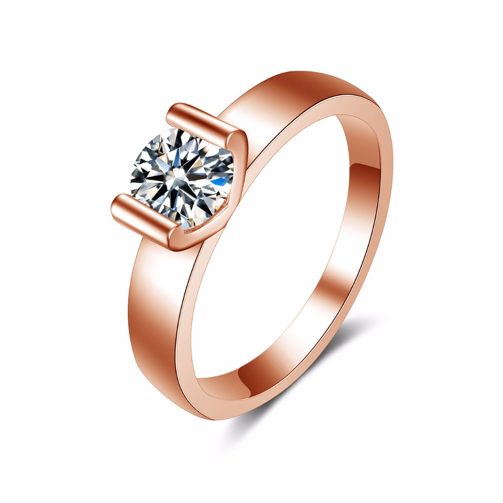 18K Rose Gold GP AAA CZ Zircon Crystal Lady Tail Ring Austrian Crystal Wedding Band Ring