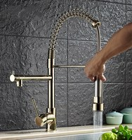 Gold color brass multi-functional hot cold kitchen sink faucet deck mounted double spout spring pull down faucet
