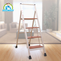 boomjoy T-5 lightweight folding aluminum step ladder with 4 steps for household