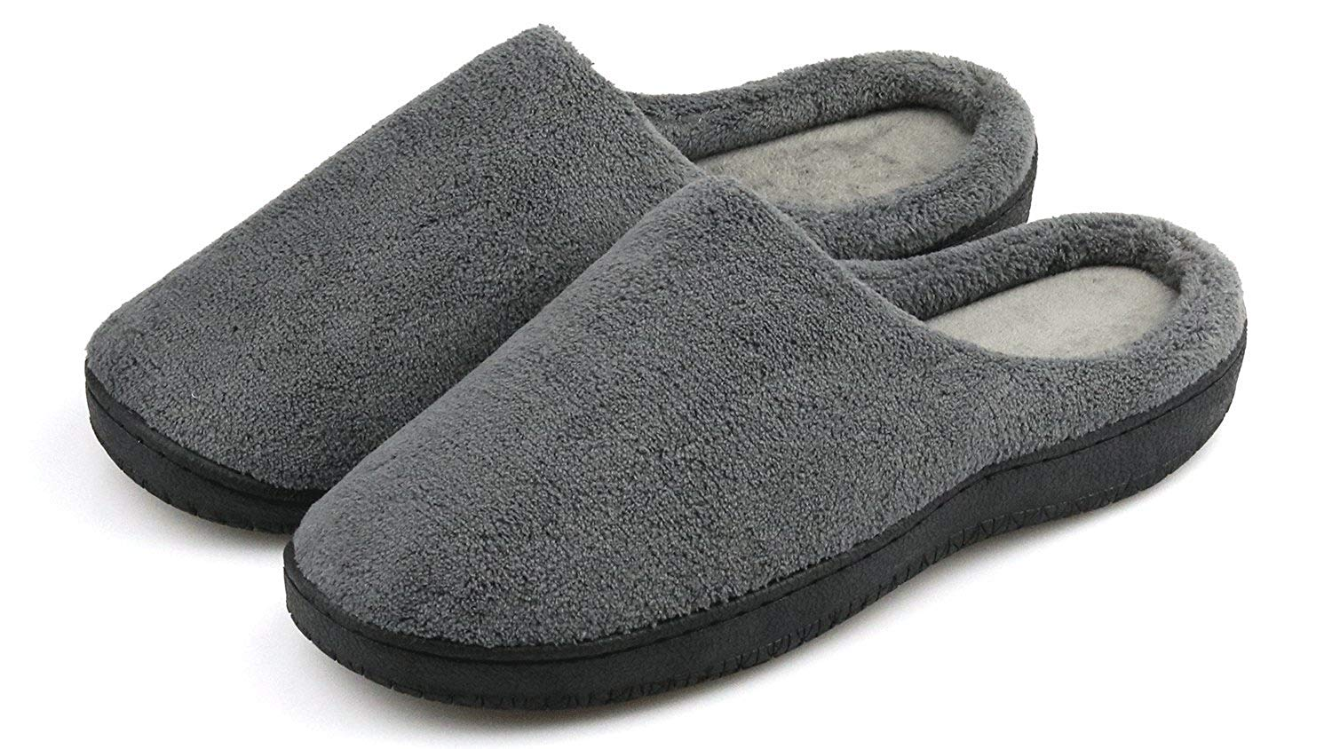 3a9bd624319 Get Quotations · Men s Slippers Memory Foam Warm Winter Slip On Daily  Slippers Soft Fleece House Slippers Indoor Outdoor