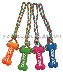 Plastic Squeaky Vinyl Toy Dog with rope for pets