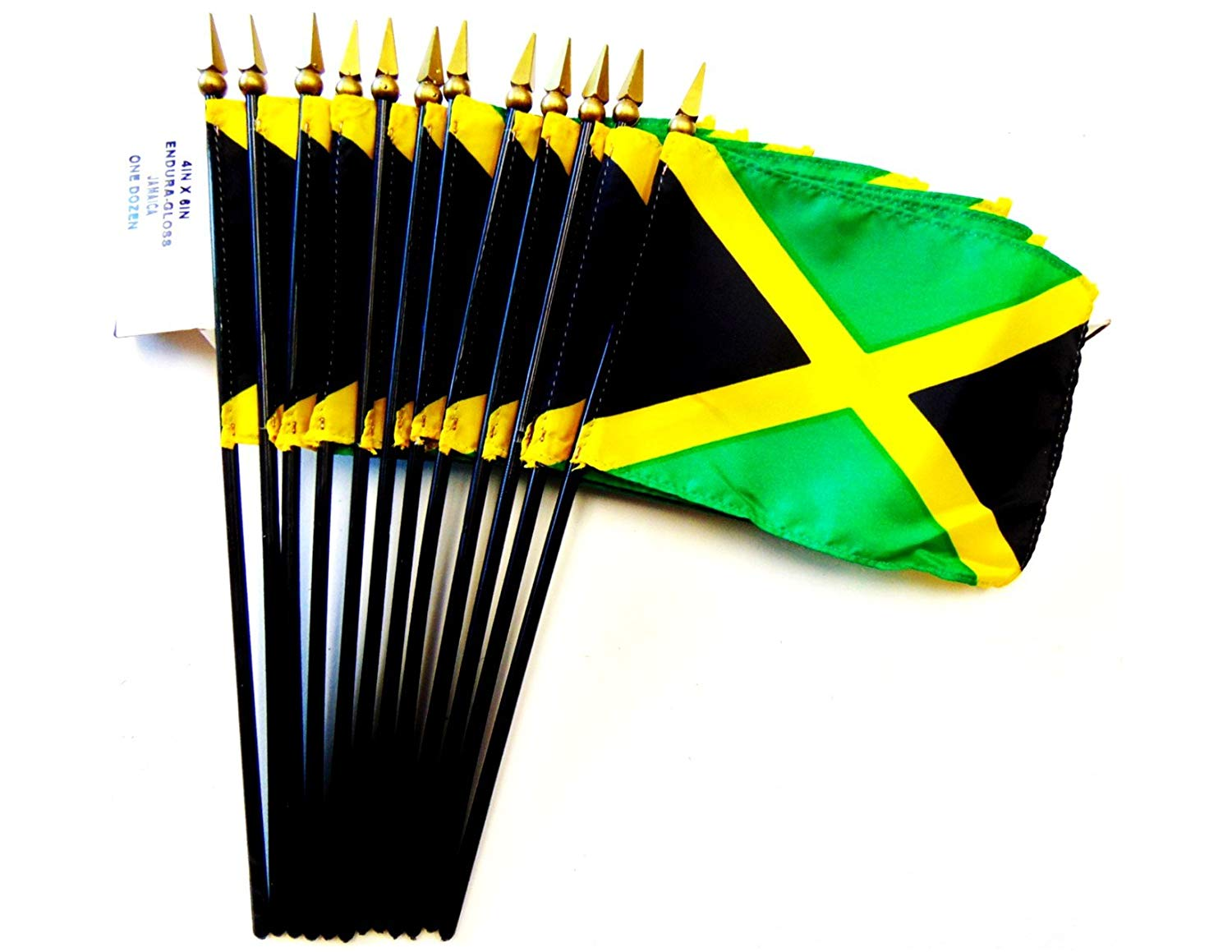 "MADE IN USA!! Box of 12 Jamaica 4""x6"" Miniature Desk & Table Flags; 12 American Made Small Mini Jamaican Flags in a Custom Made Cardboard Box Specifically Made for These Flags"