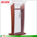 "Wood Podium with Acrylic Front Panel & Reading Surface, 48.75"" tall - Mahogany"