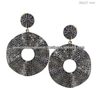 Indian Black Diamond Pave Jewelry Earrings Wholesale Yellow Gold Jewelry Silver Earrings Jewelry Manufacturer