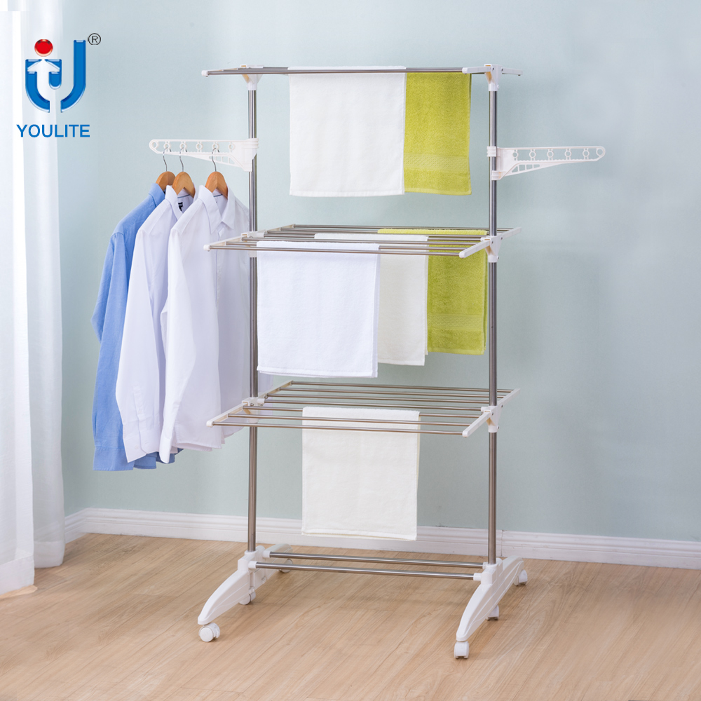 Adjustable stainless steel three layer clothes drying rack