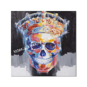 Handmade Abstract Colourful Skull Oil Painting On Canvas For Home Decor