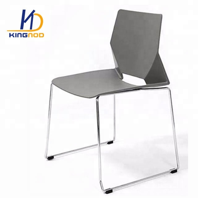 PP White Simple Design Modern Steel Metal Leg Dining Polypropylene Stackable Plastic Chair Price