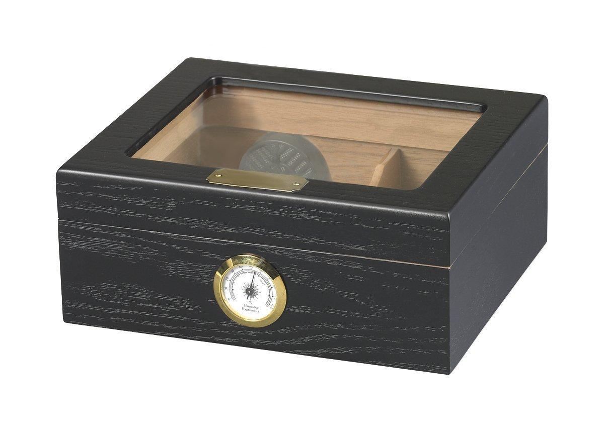 Quality Importers Capri Glasstop 25-50 Cigar Glasstop, Black Oak