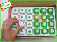 led bounce green four leaf clover plastic dice