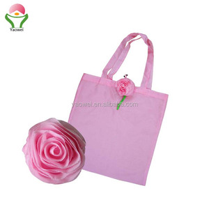 2018 NEW fashion hot selling promotional rose foldable shopping bag