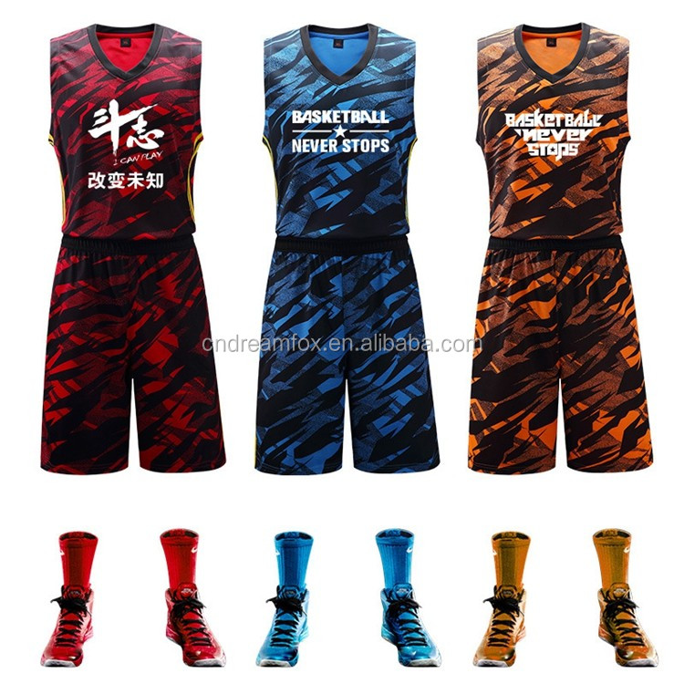 a09c37ef47a cheap Customizable Print Number reversible digital sublimation youth sport  apparel design basketball jerseys