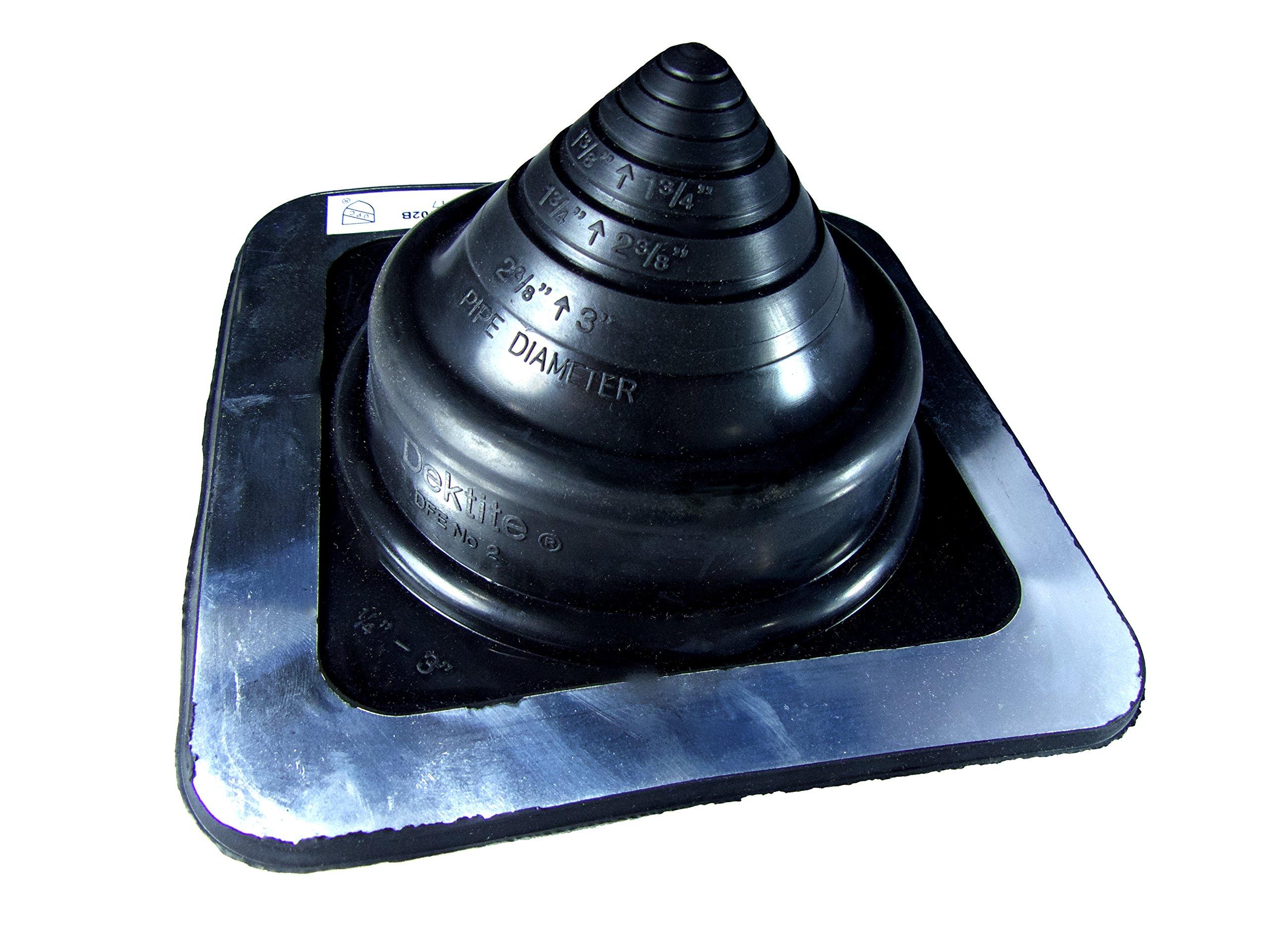 Roof Jack DEKTITE #7 for OD Pipe Sizes 6-12 Pipe Boot Flashing DFE107B Square Black EPDM Flexible Pipe Flashing