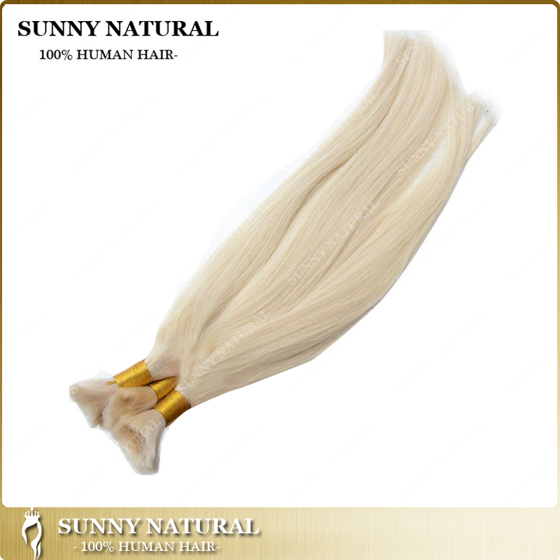 Silk Straight Blonde <strong>Human</strong> Braiding Hair Bulk 100 <strong>Human</strong> Braiding Hair Bulk No Weft 1 pcs No Attachment Bulk Hair For White Woman