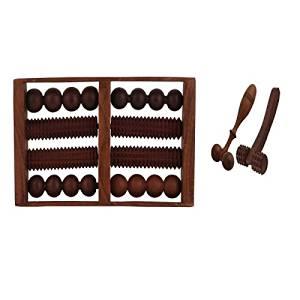 Onlineshoppee Wooden Set of Wooden 8 Roller Foot/feet Massager for Body Stress Acupressure Feet Care +Finger Cum Face Massager + Hand Massager