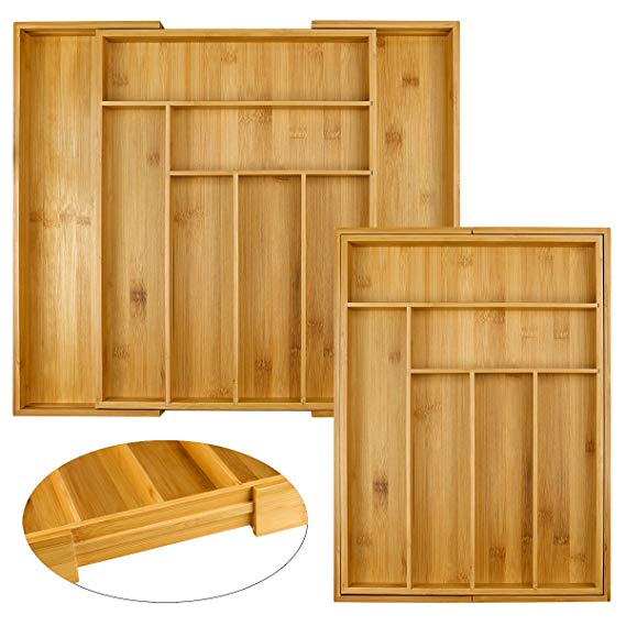 High Quality bamboo expandable drawer organizer 5