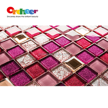 Fine glass tiles mosaic glitter powder red purple glitter,Competitive price