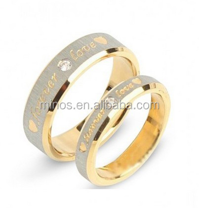 Forever Love Fashion High Quality Titanium Steel Cubic Zirconia Couple Rings Lovers Rings