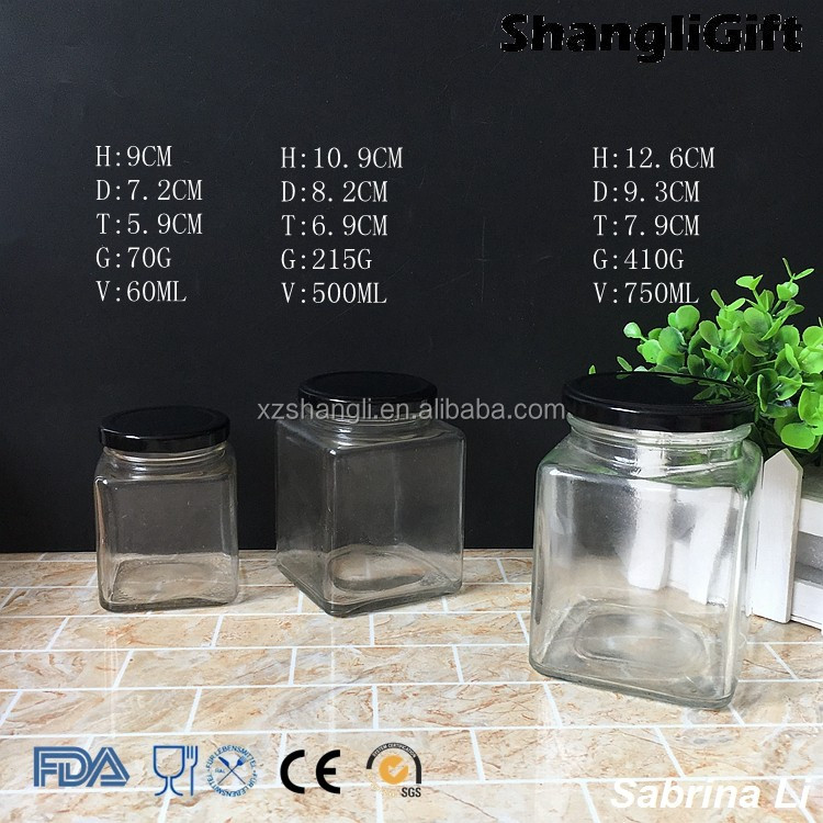 500ml 750ml square honey glass jar with tinplate lid