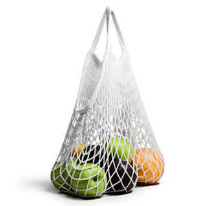 Eco Beach Net cotton mesh shopping drawstring bag