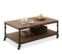 Iron wheels wood coffee table (BF10-M705)